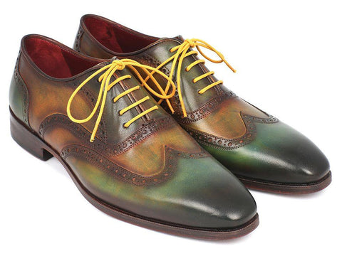 Paul Parkman Wintip Oxfords Green Handpainted Calfskin