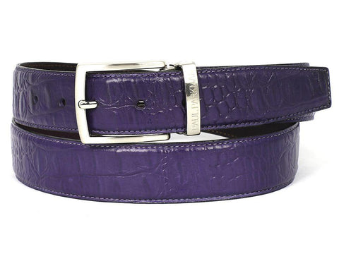 Paul Parkman Crocodile Embossed Calfskin Leather Belt Hand-Painted Purple
