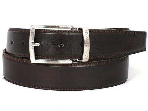Paul Parkman Leather Belt Hand-Painted Dark Brown