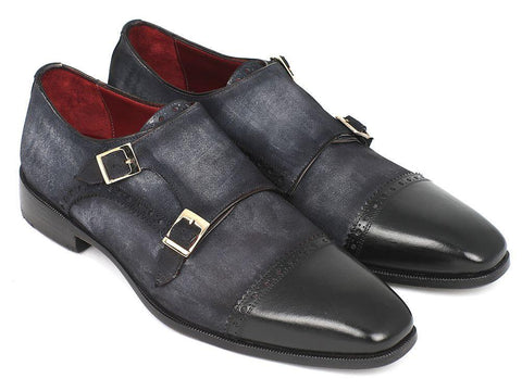 Paul Parkman Captoe Double Monkstraps Navy Suede
