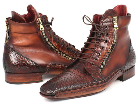 Paul Parkman Genuine Crocodile & Calfskin Handmade Zipper Boots