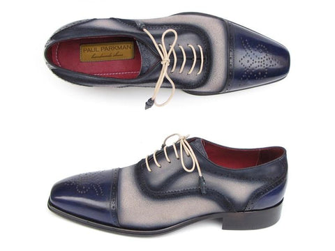 Paul Parkman Captoe Oxfords - Navy / Beige Hand-Painted Suede Upper and Leather Sole