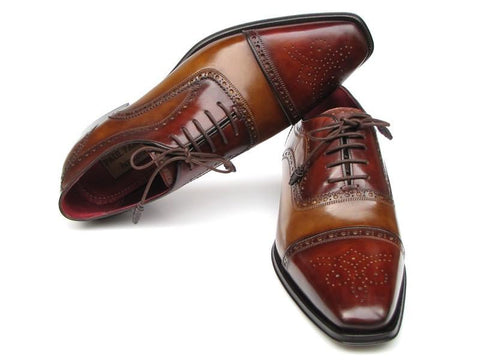 Paul Parkman Captoe Oxfords - Camel / Red Hand-Painted Leather Upper and Leather Sole