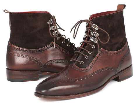 Paul Parkman Wingtip Boots Brown Suede & Calfskin