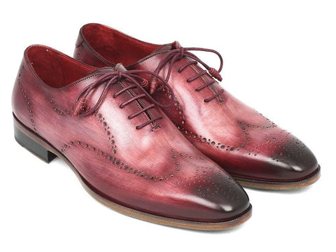 Paul Parkman Wintip Oxfords Burgundy Handpainted Calfskin