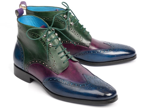 Paul Parkman Wingtip Ankle Boots Three Tone Blue Purple Green