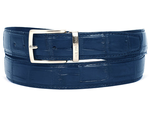 Paul Parkman Men's Blue Genuine Crocodile Belt