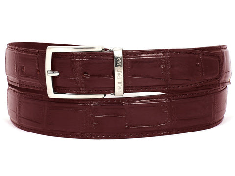 Paul Parkman Men's Bordeaux Genuine Crocodile Belt