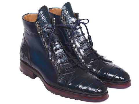 Paul Parkman Blue Genuine Crocodile & Calfskin Side Zipper Boots