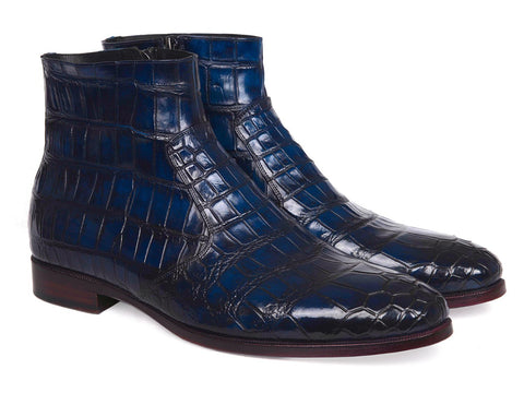 Paul Parkman Navy Genuine Crocodile Side Zipper Boots