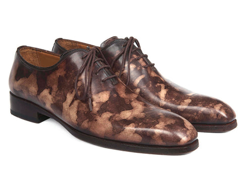 Paul Parkman Camouflage Hand-Painted Wholecut Oxfords Brown