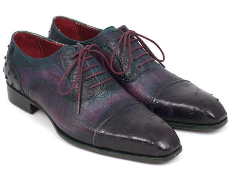 Paul Parkman Genuine Ostrich Captoe Oxfords Purple