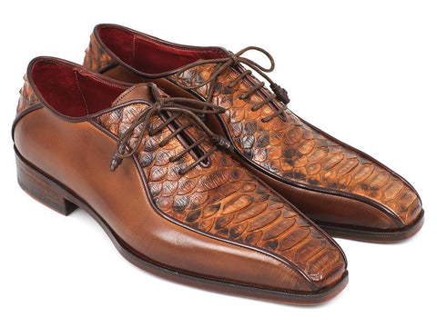 Paul Parkman Brown Genuine Python & Calfskin Bicycle Toe Oxfords