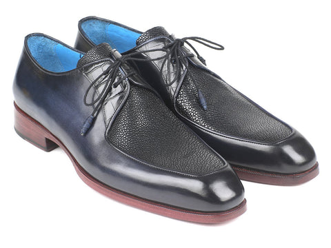 Paul Parkman Stingray Crocodile Calfskin Apron Derby Shoes