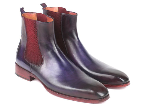 Paul Parkman Navy & Purple Chelsea Boots