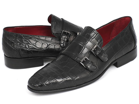 Paul Parkman Genuine Crocodile Black Double Monkstraps