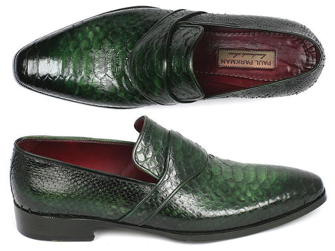 Paul Parkman Genuine Python Loafers Green