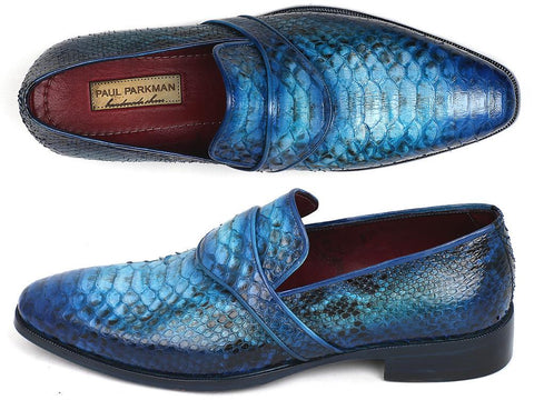 Paul Parkman Genuine Python Loafers Turquoise