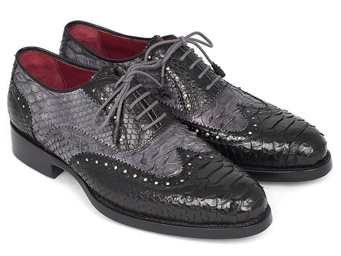Paul Parkman Goodyear Welted Genuine Python Oxfords Black and Gray