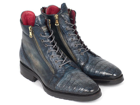 Paul Parkman Navy Genuine Crocodile & Calfskin Side Zipper Boots