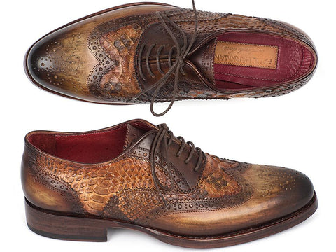 Paul Parkman Goodyear Welted Camel Genuine Python & Brown Calfskin Wingtip Oxfords