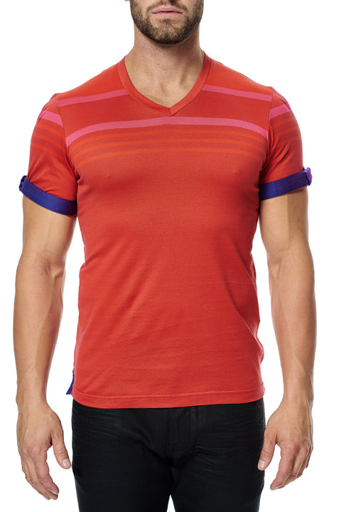 Maceoo V-Neck S Orange Stripe