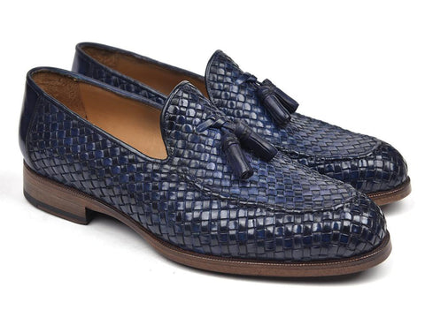 Paul Parkman Woven Leather Tassel Loafers Navy (New)