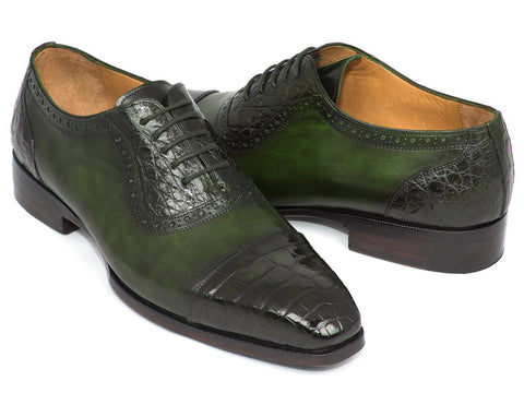 Paul Parkman Men's Green Genuine Crocodile & Calfskin Oxfords