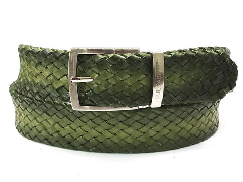 Paul Parkman Woven Leather Belt Green