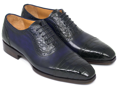 Paul Parkman Men's Navy Genuine Crocodile & Calfskin Oxfords