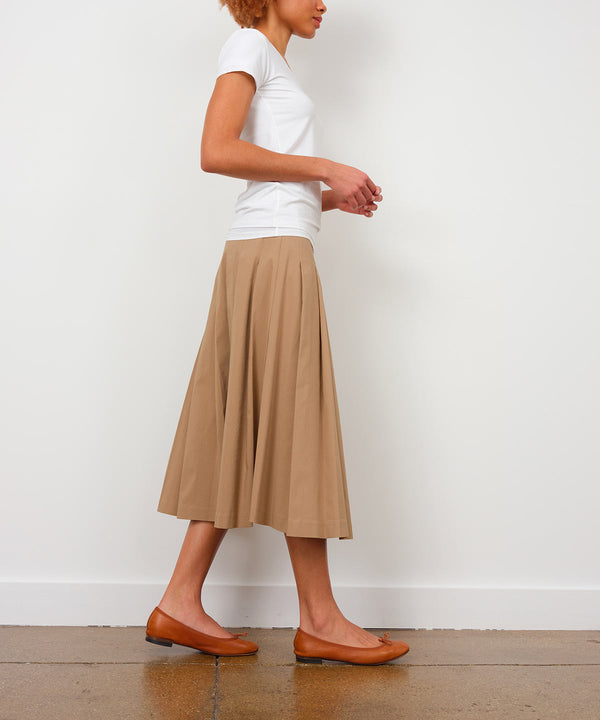 PLEATED SKIRT Camel