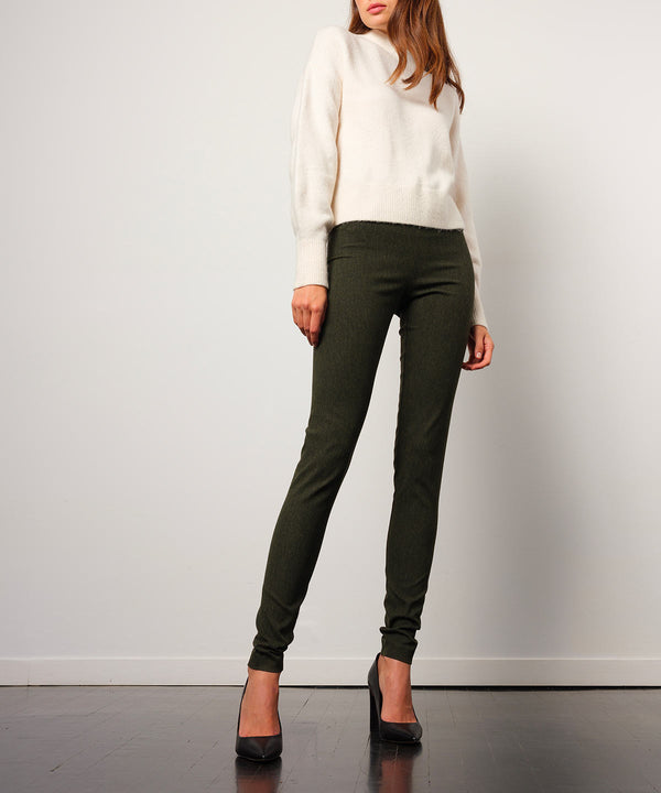 PULL ON SKINNY Flannel Olive - AVENUE MONTAIGNE