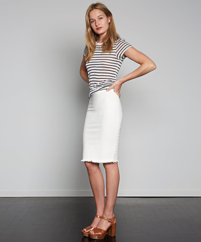 Pull-On Denim Skirt - - Avenue Montaigne