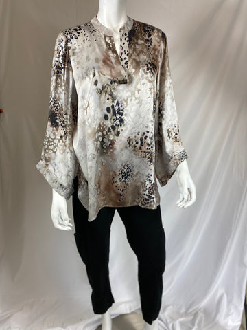 Go Silk Taupe and Black print Shirt