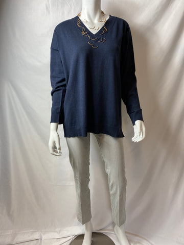Peter O. Mahler Navy V Neck Sweater