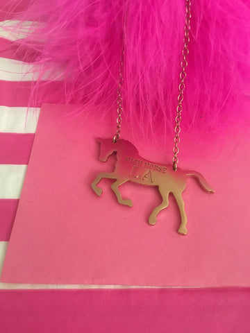 HIGH HORSE LA - HORSE SILHOUTTE NECKLACE - ROSE GOLD