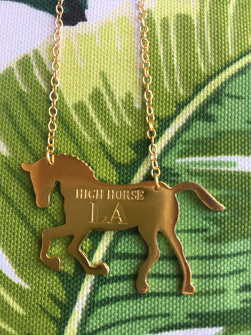HIGH HORSE LA HORSE SILHOUTTE NECKLACE - GOLD