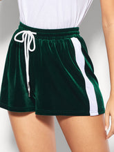 Striped Tape Side Drawstring Waist Velvet Shorts