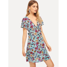 Frill Detail V Neck Floral Dress