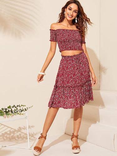 Diana Floral Top & Skirt Set