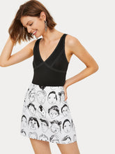Many Faces Print Skirt