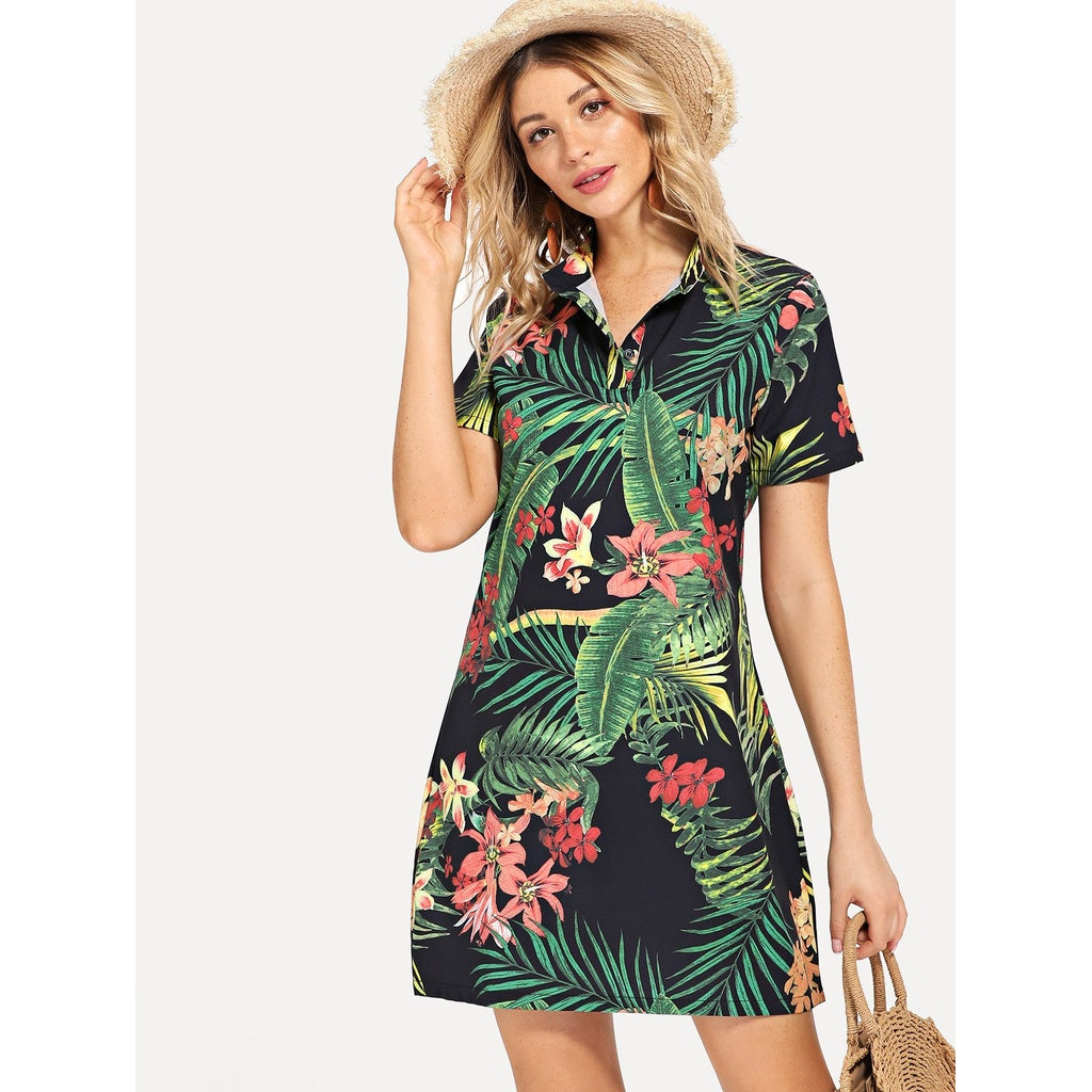 Totally Tropic Shirt Dress