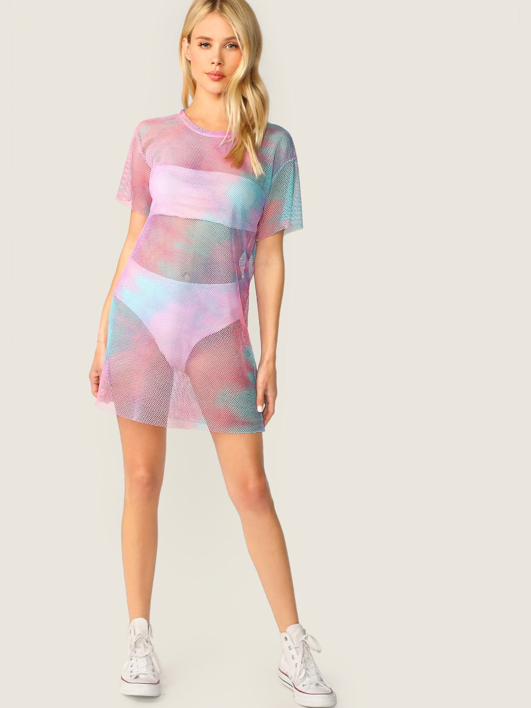 Tie Dye For Mesh Dress/Swimsuit Cover-Up