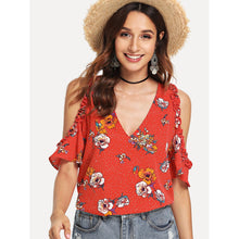 Open Shoulder Garden Blouse