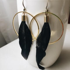 Feather Brass Hoop Earrings