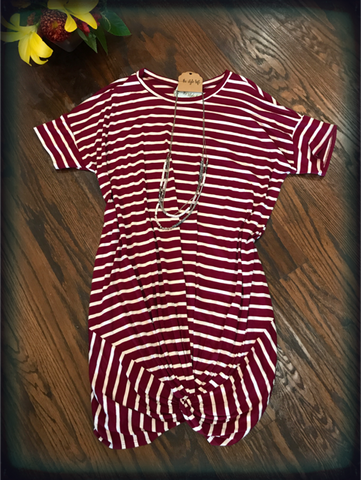 Burgundy & White Striped Knotted Dress