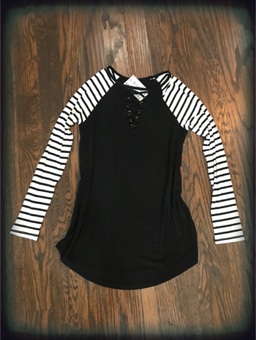 Black Striped Tunic Lace Up V Neck