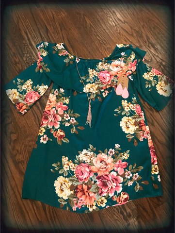 Love Teal Floral Dress