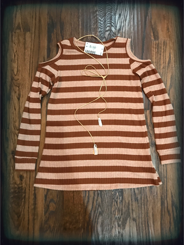 Rust Blush Fleece Brushed Striped Tunic