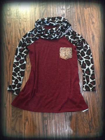 Burgundy Leopard Cowl Neck Tunic
